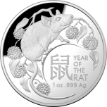 Год Крысы 2020  - Австралия 5 $ 99,99% серебряная монета  форме купола 31.107 г.