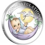 """""""Добро пожаловать в жизнь!"""" -  Австралия 1/2$ 2020 г. 99,99% серебряная монета с цветной печатью,  15,87 г."""