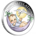Newborn Baby 2021 Australia 1/2 $ 2021 coloured 99,99% silver coin 1/2 oz