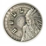 Sitting Bull  (Istuv Sõnn) - Samoa 25 $ 2020.a  antiikviimistlusega  1 kilone 99,9% hõbemünt