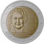 Itaalia 2020 a 2€ juubelimünt-  Maria Montessori 150. sünniaastapäev