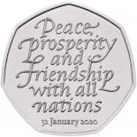 Брексит»  (Brexit 31.01.2020)-  Великобритания 50 пенсов 2020 года. Mедно-никилиевая монета.