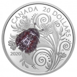 Lepatriinu - Kanada 20 $ 2020.a. 1-untsine 99.99% hõbemünt safiiride ja granaatidega