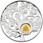 Символы Жизни - Древо Жизни -Барбадос 10 $ 2018 г. монета -подвеска 7,5 г. 92,5 % серебо, 1 г. 99,9% золото с родированным покрытием