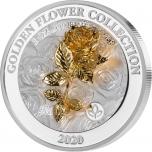 Kullast 3D lilled -Roos. Samoa 5 $ 2020.a 1-untsine  99,9% hõbemünt
