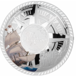 Мейфлауэр - Соломоновы Острова 5 $ 2020 г. 99,9% серебряная монета с цветной печатью,  50 гр.