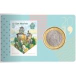 San Marino 1€ 2019 ja postimerkki / coin card