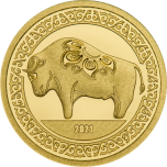 Год Быка 2021 - Монголия 1000 тугриков 99,99%  золотая монета 0,5 гр.