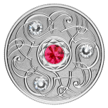 Birthstone July. Canada 5$ 2020 99,99% silver coin with Swarovski crystals, 7,96 g