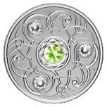 Счастливый камень на августовские дни рождения. Канада 5$ 2020 г. 99,99% серебряная монета с кристаллами Swarovski® 7, 96 г.