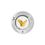 """""""Американский золотой орёл"""" - символу на монете 35 лет.  Соломоновы Острова 2021г. Номинал-5$, 99,9% серебро, с золотым изображением американского орла, 0,2 г золота (2 унции)"""
