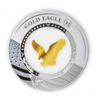 """American Gold Eagle kultaraha  35 vuotta"" -  Salomonsaaret 5 $ 2021.v. 99,9% hopearaha, 2unssi"