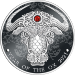 Lunar Year of the Ox 2021 Republic of Ghana 2 Cedis 2021 1/2 oz silver coin with crystal