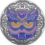 Öökull - Mandala kunst-  Niue Saarte 5 $ 2020.a.  antiikviimistlusega värvitrükis 2-untsine 99.9% hõbemünt Swarovski® kristalliga