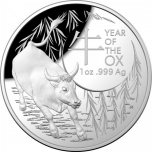 Lunar Year of the Ox 2021 Australia $5 2021  Proof Domed 1 oz 99,9% Silver Coin