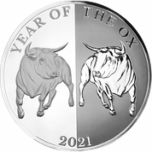 Lunar Year of the Ox 2021. Mirror Ox Tokelau 5$ 2021 99,9% silver coin 1 oz