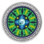 Мандала Здоровье- 99,9% серебряная медаль с цветной печатью и  кристаллами  16. г