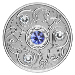 Birthstone September. Canada 5$ 2020 99,99% silver coin with Swarovski crystals, 7,96 g