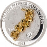Golden Flower Collection - Orchid. Samoa 5$  2020 99,9% Silver Coin with 3D Golden Flower. 1 oz.