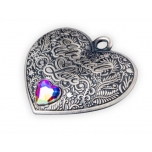 Eternal love -Niue 1 $ Heart-shape 99,9% silver coin /pedant with heart-shaped crystal