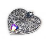 Ikuinen rakkaus - Salomonsaaret 1 $  sydämen muotoinen 99.9% hopearaha/koru antiikkipatinointi ja kristalli, 15 g