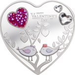 Happy Valentine's Day 2021 – Silver Hearts - Cook Islands 5$ 2021 99,9% silver coin with Swarovski® crystals 20 g