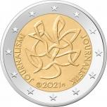 2 € юбилейная монета 2021 г. Журналистика и свободная пресса поддерживают финскую демократию