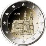 2 € юбилейная монета 2021 г. Германия - Федеральная земля Саксония-Ангальт. Магдебургский собор