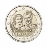 2 € юбилейная монета 2021 г. Люксембург - 40 лет со дня рождения наследного Великого Герцога Гийома и бракосочетание Великого Герцога Анри и Великой Герцогини Марии-Терезы