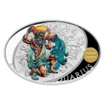 Silver coin Sign of Zodiac - Aquarius. Niue 1 $ 2021 99,9% silver coin 1 oz