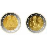 2 € юбилейная монета 2020 г. Люксембург - принц Чарльз. Набор  из 2 могет - с голограммой и без голограммы