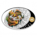 Silver coin Sign of Zodiac - Pisces. Niue 1 $ 2021 99,9% silver coin 1 oz