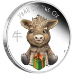 Lunar Year of the Ox 2021. Baby Ox Tuvalu 1/2 $ 2021 coloured 99,99% Silver coin 0,5 oz