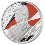 «Легенды музыки» - Дэвид Боуи, Великобритания 2 £ 2020 г 99,9% серебрянная монета с цветной печатью. 31.1 г