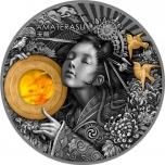Amaterasu - auringon jumalatar Niue saarivaltio 5 $  2021 v. 2 unssi 99,9% hopearaha, meripihka ja antiikkipatinointi