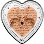 """""""Armastuse tähtpäev - Kaljukotkad"""" - Niue 1$ 2021.a bi-metallist 99,9% hõbemünt vasest südamekujulise elemendiga, 37.4 g"""