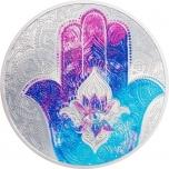 """""""Хамса (амулет)"""" - Палау 5$ 2021 г. 99,9% серебряная монета c цветной печатью. 1 унция"""