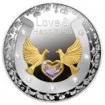 """""""Armastus ja Õnn"""" Niue Saarte 1 $ 2021.a. värvitrükis 99.9% hõbemünt osalise kullatisega, 17,5g"""