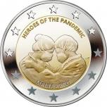 2 € юбилейная монета   2021 г. Мальта -Герои пандемии