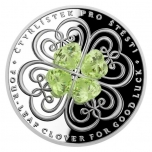 "Silver Crystal Coin - ""Four-leaf clover for good luck"" Niue Island 2$ 2021. 99,9% silver coin with cut Bohemian crystal, 1 oz"