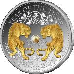 Год Тигра 2022 г. - Фиджи 10$, 99,9% серебряная монета с настоящей жемчужиной и позолотой, 31,107 г.