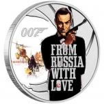 James Bond - Armastusega Venemaalt. Tuvalu 1/2 $ värvitrükis 99,99% hõbemünt, 15.553 g