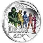 """""""Джеймсе Бонд Dr.. NO"""" - Тувалу 1/2 $ 2021 года. 99,99% серебряная монета с цветной печатью, 15,553 гp."""