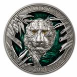 """Colours of  Wildlife. Tiger"" Barbados 5$ 2021 99,9% silver coin with translucent graan enamel. 3 oz"
