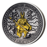 Norse Gods. Odin Cook Island 1 $ 2021 antique finish 99,9% silver coin, gold plating. 2 oz