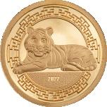 Год Тигра 2022 г. - Монголия 1000 тугриков 99,99%  золотая монета 0,5 гр.