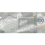 Год Тигра 2022 г. - Монголия 100 Тугрик,  99,9% серебряная банкнота с цветной печатью, 5 г.