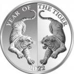 """Tiigri aasta 2022 - """"Peegelpilt"""", Tokelau 5 $, 99,9% hõbemünt, 31,1 g"""