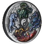 Hiina iidsed müütilised olendid  - Tuvalu 5 $ 2021 .a. 5 untsine antiikviimistlusega värvitrükis  99.99% hõbemünt
