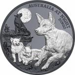 Australian yöelämä. Dingo. Niue saarivaltio 1 $  2021 v. 1 unssi 99,9% hopearaha